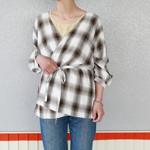 【PHEENY】Rayon ombre check cache coeur shirt(BROWN)