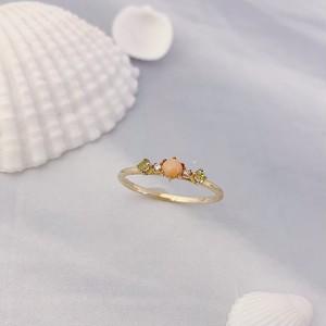 【kiyolakrei】キヨラクレイ キヨラフェ リング 11号 ピンク珊瑚 ダイヤモンド ペリドット K10 f4s15rg  (CORALIA)