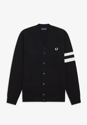 FRED PERRY:TIPPED SLEEVE CARDIGAN