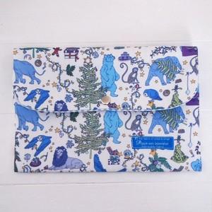 リバティ 母子手帳ケース クリスマス/ブルー Lサイズ マルチケース