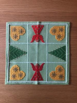 北欧 天使とツリーの刺繍リネンクロス ヴィンテージ