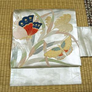 銀糸織りに籠目文様と蝶 名古屋帯