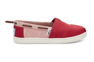 TOMS /  RED BURLAP STRIPES YOUTH BIMINIS