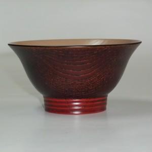 欅 羽反飯椀 朱波紋