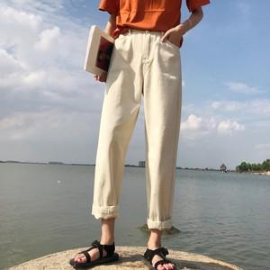 【ボトムス】合わせやすいアンクル丈ハイウエストカジュアルパンツ