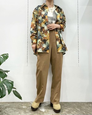 1970s Career Club total printed polyester shirts【XL】