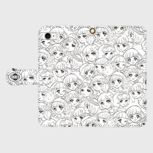 ✳️受注生産✳️  手帳型iPhoneケース お顔がいっぱい/ホワイト