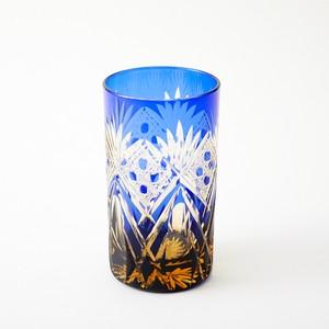 記念品に江戸切子 琥珀色瑠璃焼酎グラス