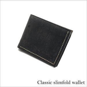 VEGAN MEN'S SLIMFOLD WALLET  BLACK / 二つ折り財布 ブラック&ブラウン コルク製