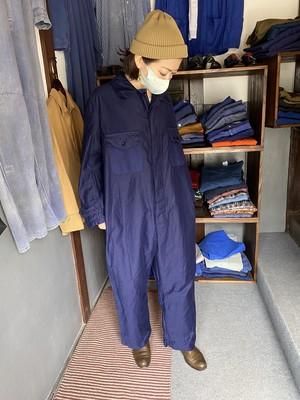 england製1970's vintage moleskin blue boiler suit