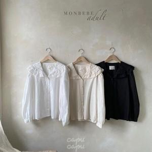 «先行予約割引»«ママサイズ» monbebe frill blouse 3colors フリル襟ブラウス