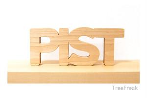 PIST/ピスト 木の切り文字 インテリア (ピスト フィックスギア FIX ロードバイク MTB 自転車)