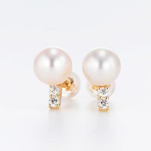 Classy K18YG Pearl Diamond Pierce (パール ダイヤモンド ピアス)