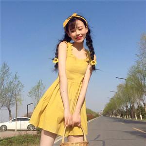 【ワンピース】スウィート清新春夏無地ハイウエストAラインUネックキャミワンピース