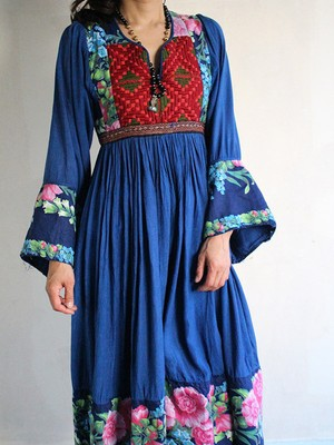 70s embroidery patchwork Dress