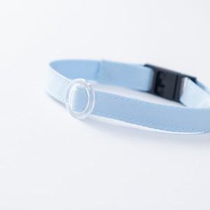 【猫にやさしい布首輪】ベビーブルー 軽量3g やわらか 安全 シンプル ペットシッター考案