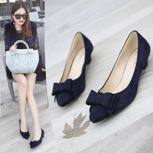 【pumps】 2018 autumn new Korean  pointed toe bow low heel pumps