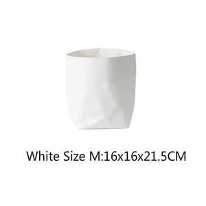 送料無料クラフトペーパーファブリック・バスケット 【ホワイト M size】収納