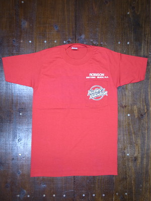 80's JERZEES Harley-Davidson 胸ポケ付き ROBISON T-Shirts(赤)DEAD STOCK ⑩