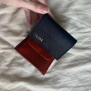【日本製】オリジナルアイテム 金箔ロゴ刻印 栃木レザーコンパクト三つ折り財布
