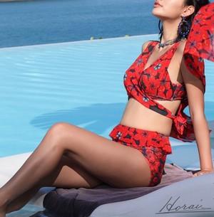 ビキニ 3点セット 体型カバー ハイウエスト ショール付き 巻きスカート 花柄 フロントクロス バックリボン 水着 レディース ビキニ 夏 20代 30代
