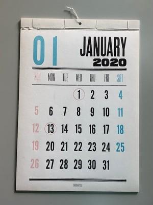 レタープレス・カレンダー2020年(日本版)