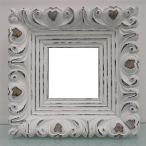 アンティークおしゃれフレ-ム白44-6100ホワイト額縁寸法80mm×80mm窓枠寸法66mm×66mm 2mmアクリル/(箱なし)