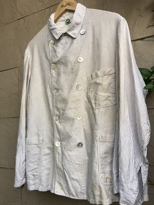 Old German stripe pattern double breasted work jacket 3