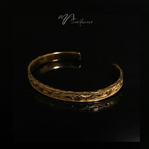 24kgp Hawaiian jewelry bangle(深彫)