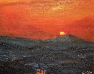 『夕焼け』油絵