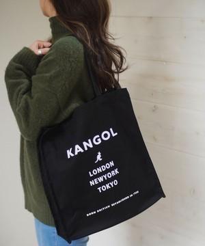 〈KANGOL/カンゴール〉 スクエア キャンバス ロゴ プリント トート
