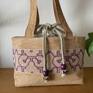刺繍巾着ふた付きショルダーバッグ シピボ族の刺繍