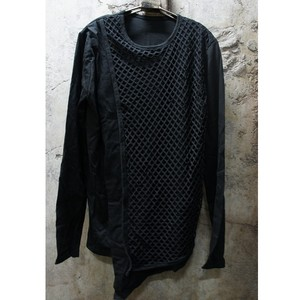 JOHAN MESH LAYERED LONG SLEEVE TEE/BLACK