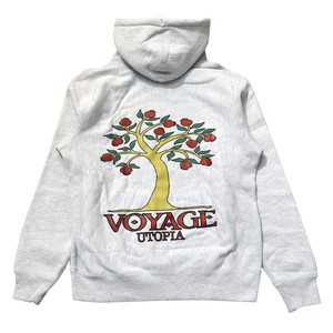 VOYAGE UTOPIA / POMEGRANATE HOODED SWEATSHIRT - HEATHER GREY-