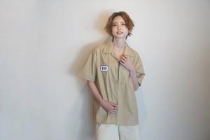 Wappen Open collar shirt #01 beige