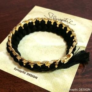 [Synaptic DESIGN] GOLD CHAIN BRACELET BLACK 001