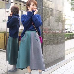 バイカラーフレアスカート(グリーン×グレー)