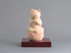 木彫り 合掌猫 猫仏1911