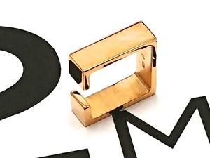 Silver925 スクエアメタル ユニセックスタイプイヤーカフ(シングル)GOLD