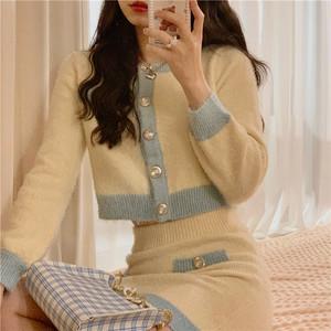 【2点セット】パイピングニットセットアップスカート ・13930