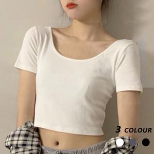 【トップス】シンプル無地ミニ丈タイト着痩せ合わせやすいTシャツ43545034
