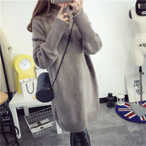 【dress】Loose solid color knitted dress