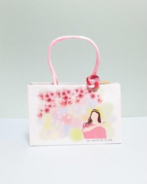 ギフト紙袋ー桜と女性ー