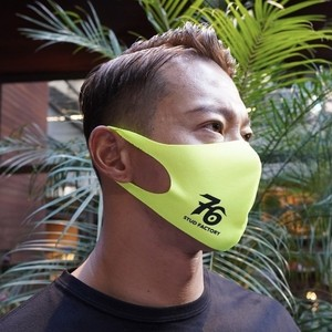 No,76 logo dry fit mask (FLUORESCENT YELLOW)