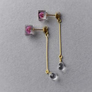宝石質AAAクォーツとヒメツルソバのピアス(天然石, レジン, ステンレス, 送料無料)