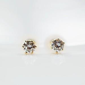 K18 シンプル ダイヤモンドピアス 片耳0.1カラットx2