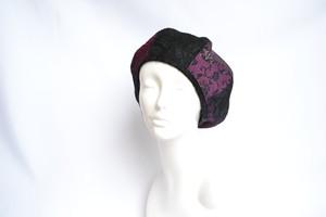 着物地×レースのベレー帽:黒×紫 着物リメイク/国内送料無料/1905mb02