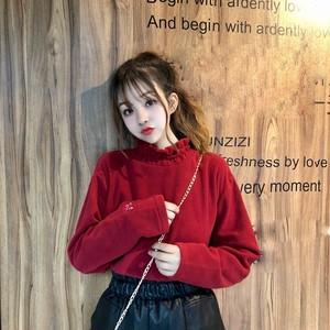 【トップス】ファッションハイネックプルオーバー若見せ刺繡シャツ