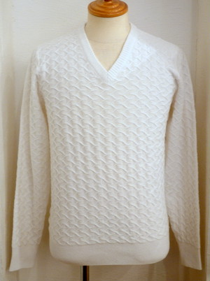 PLAG Scaly JQ V-Neck Knit WHITE