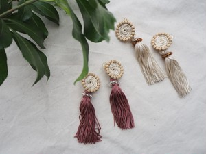 rope motif fringe pierce/earring